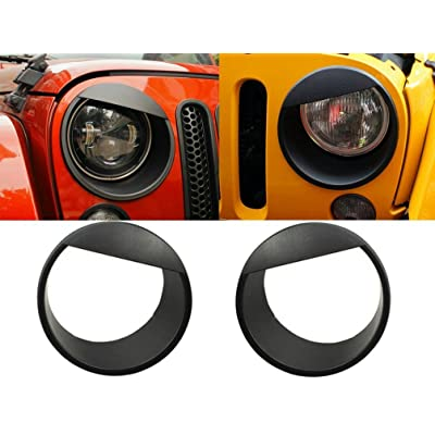 Opall Black Bezels Front Light Headlight Angry Bird Style Trim Cover for Jeep Wrangler JK JKU Rubicon Sahara 2007-2020, not for JL: Automotive