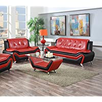 US Pride Furniture 2 Piece Modern Bonded Leather Sofa Set with Sofa and Loveseat, Red/Black