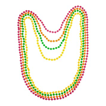 Long Plastic Neon Beads Necklace Costume Accessories 1980s Rave Fancy Dress