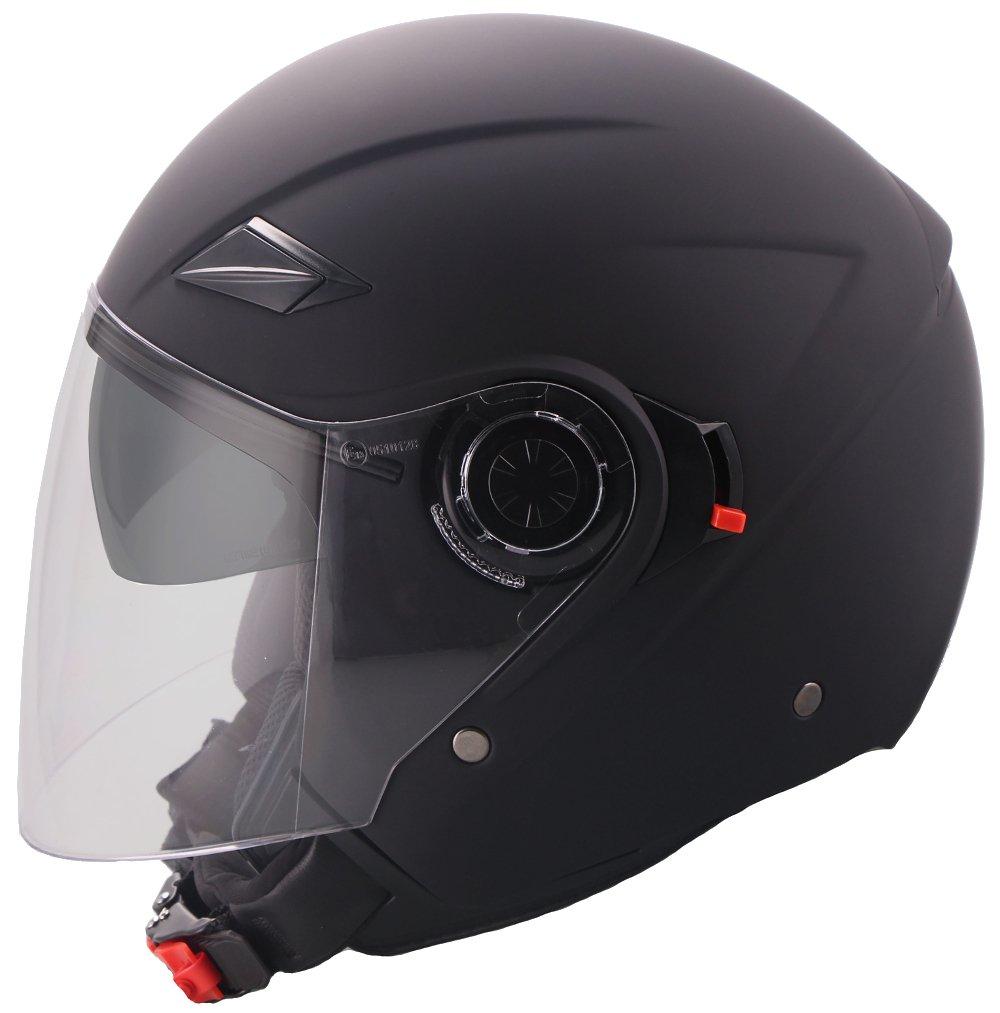 Jethelm Helm Motorradhelm Rollerhelm mit Sonnenvisier RALLOX 702 matt schwarz S M L XL (L) AXORY GmbH
