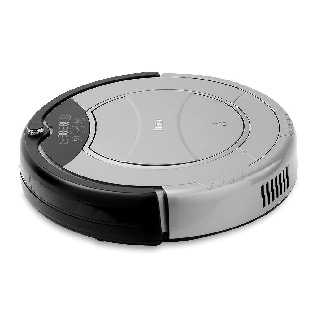 Haier - Robot aspirador (Pantalla LED, Autonomía 900 min, Silencioso 50db, Escalada 25 grados) (Gris)