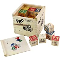 Kingwell ABC 123 Wooden Blocks Letters Numbers with Box Storage Case, Wooden (27 Pieces)