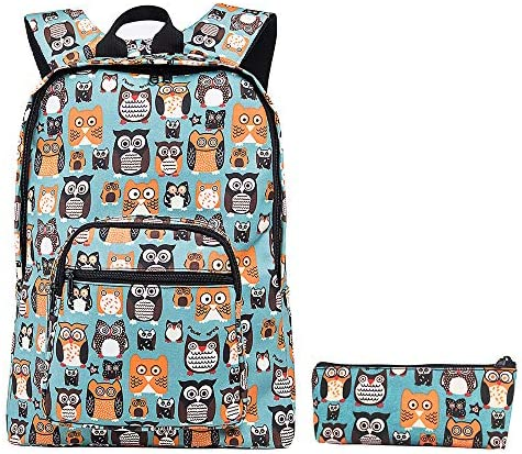 Cute Owls Backpack with Pencil Pouch Waterproof Laptop Backpacks for Travel OwlTurquoise