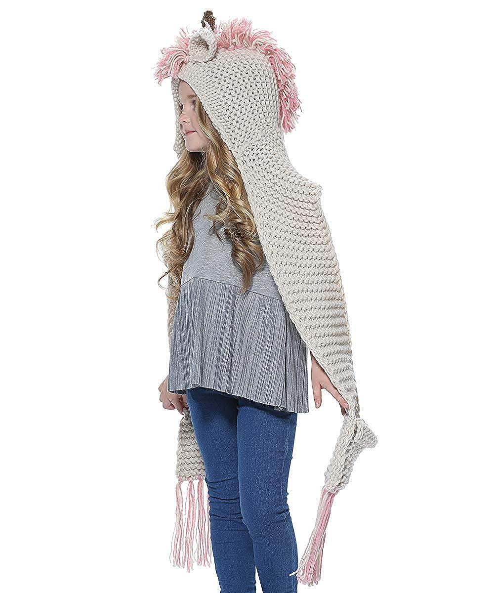 569bf194c7e2 Enfants Animal Casquette Bonnet et  Écharpe en laine Tricot Capuche Cagoule  hiver tricot és