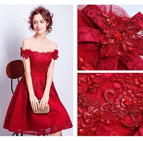 8 De Rouge Bateau Dentelle Parti Banquet Sun Mariée Courte Cocktail Genou De Fleur Broderie Cou Robe Mariés Rouge Longueur La Goddess Officiel Robe 12 7XxxwSqWg1