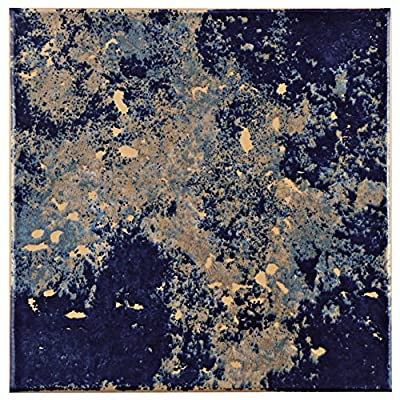 "SomerTile FEB8PROA Vencia Ceramic Floor and Wall Tile, 7.75"" x 7.75"", Blue/Beige"