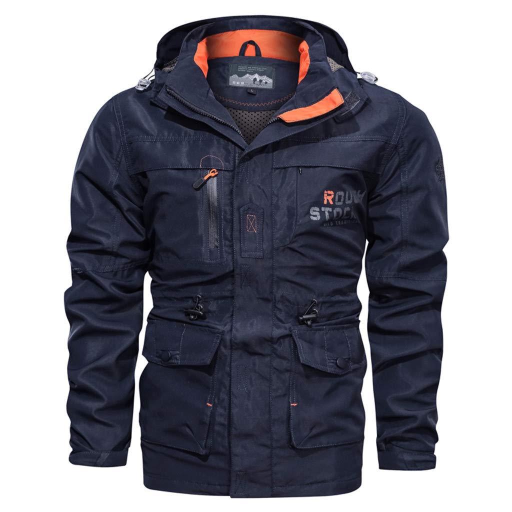 Fitfulvan Men's Winter Multi-Pocket Coat Medium Long Casual Outdoor Hooded Plus Size Jacket Blue