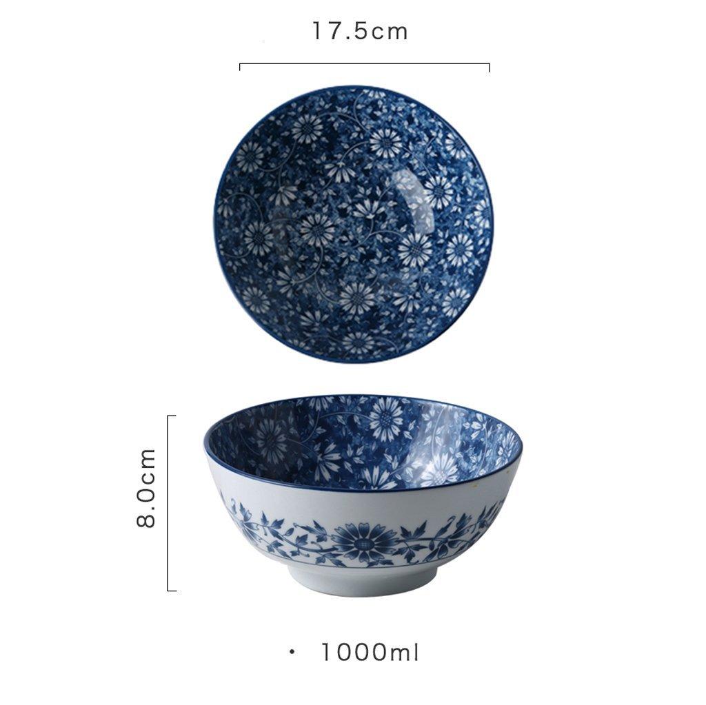 17,5 cm Durchmesser, 8 cm hoch Geschirr, Besteck & Gläser Gwanna Haushaltsgeschirr Keramik Geschirr Ramen Suppenschüssel Obstsalatschüssel Große Kapazität Runde Ramenschale