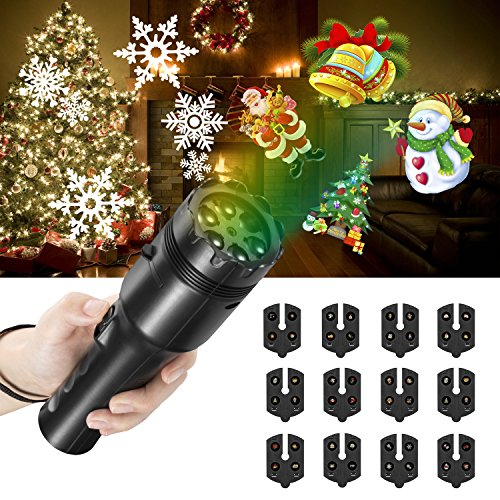NEXGADGET Christmas Projector Light, LED Decoration Light, Handheld Flashlight for Kids,with Dynamic and Static Images, 12 Slides Portable Party Lights for Home Party, Birthday,Holidays -