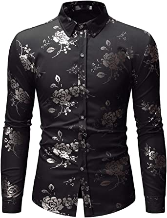 HOP Fashion Mens Luxury Gold Rose Flowers Print Shirts Long Sleeve Slim Fit Button Down Dress Shirts for PartyWeddingProm