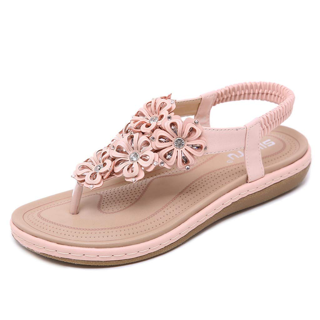 2cb530ac0b008 Amazon.com: Claystyle Women's Crystal Floral Flat Sandals Bohemia T ...