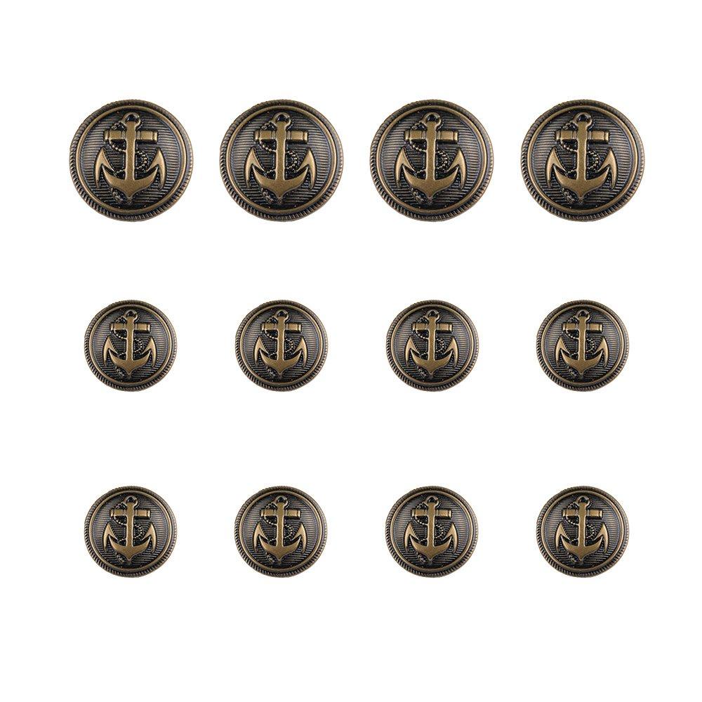 12pcs Anchor Metal Shank Blazer Button Set - DIY Sewing Supplies For Coat Jacket Sailor Suit - 20mm X 4, 15mm X 8 (Gun Black) Sharkleap