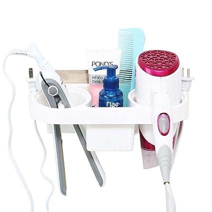 URIJK Soporte multifunción con ventosa para secador de pelo con soporte para tazas – Organizador de