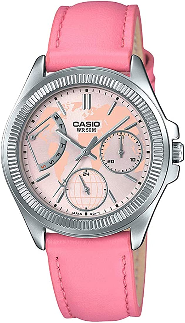 Casio LTP2089L-4AV Women's Fluted Bezel Pink Leather Band Multifunction Watch