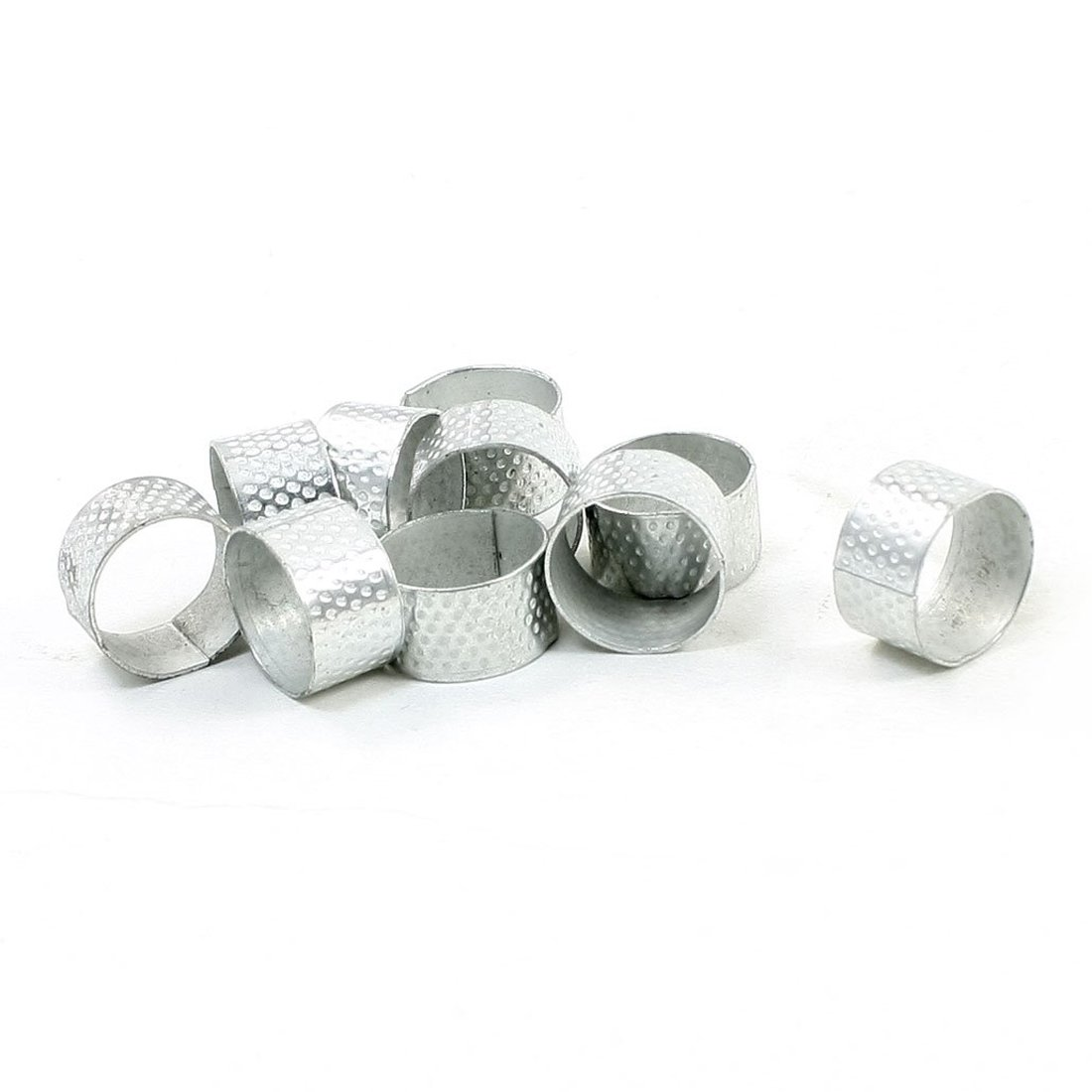 Silver Tone Tailors Sewing Texturing Reeded Round Thimble 10 Pcs SODIAL R