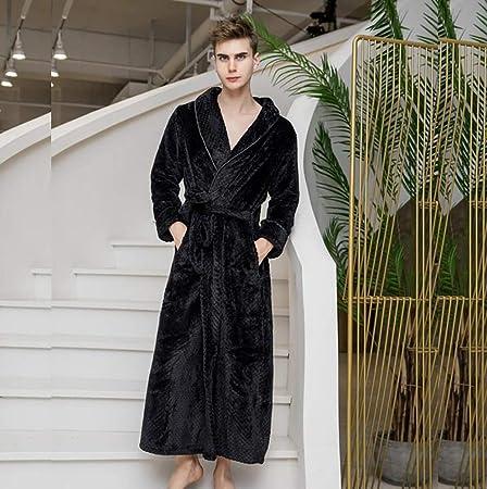 SHANGXIAN Largo Bata Baño Homewear Vestido Mujeres/Hombres Albornoz Franela Camisón Calentar Batas De Baño,Black(Male),XL: Amazon.es: Hogar