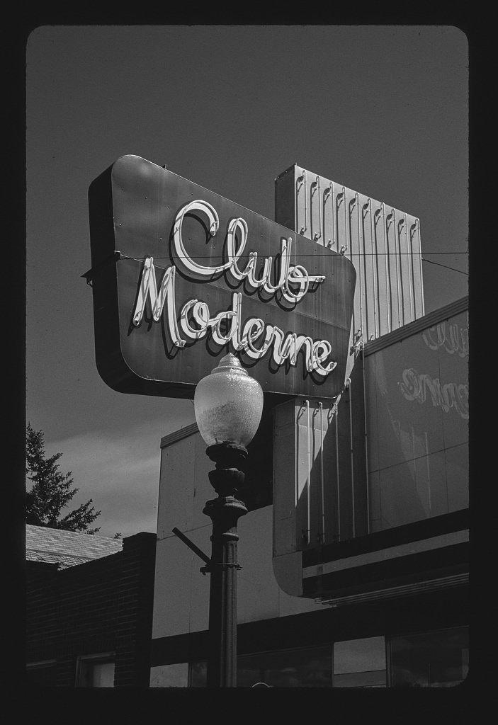 Vintography 8 x 12 BW Photo of: Club Moderne sign, Anaconda, Montana 2004 Roadside America Margolies, John 11b