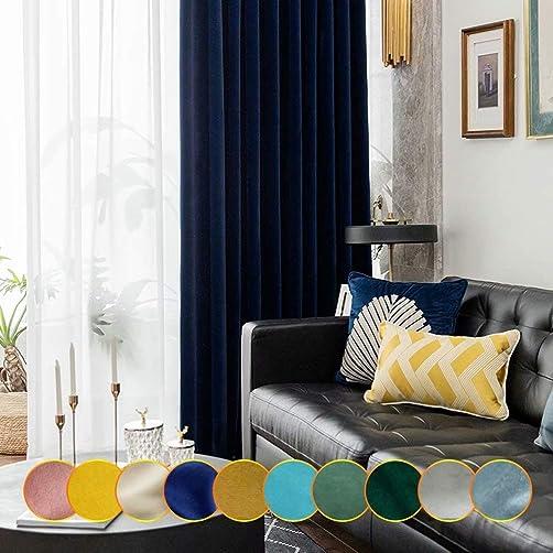 Leadtimes Velvet Thermal Blackout Panels 102 Inch Long Light Navy Blue Room Darkening Extra Wide Grommet Curtains Navy Blue