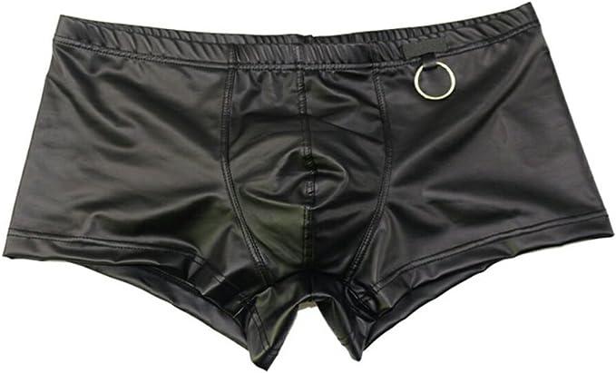 Mens Pantent Leather Boxers Briefs Shorts Metallic Jockstrap Underwear Swimwears