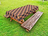 Ambesonne Tartan Outdoor Tablecloth, British Traditional Design Classic Country Style Checkered Pattern, Decorative Washable Picnic Table Cloth, 58 X 120 inches, Pink Marigold Charcoal Grey