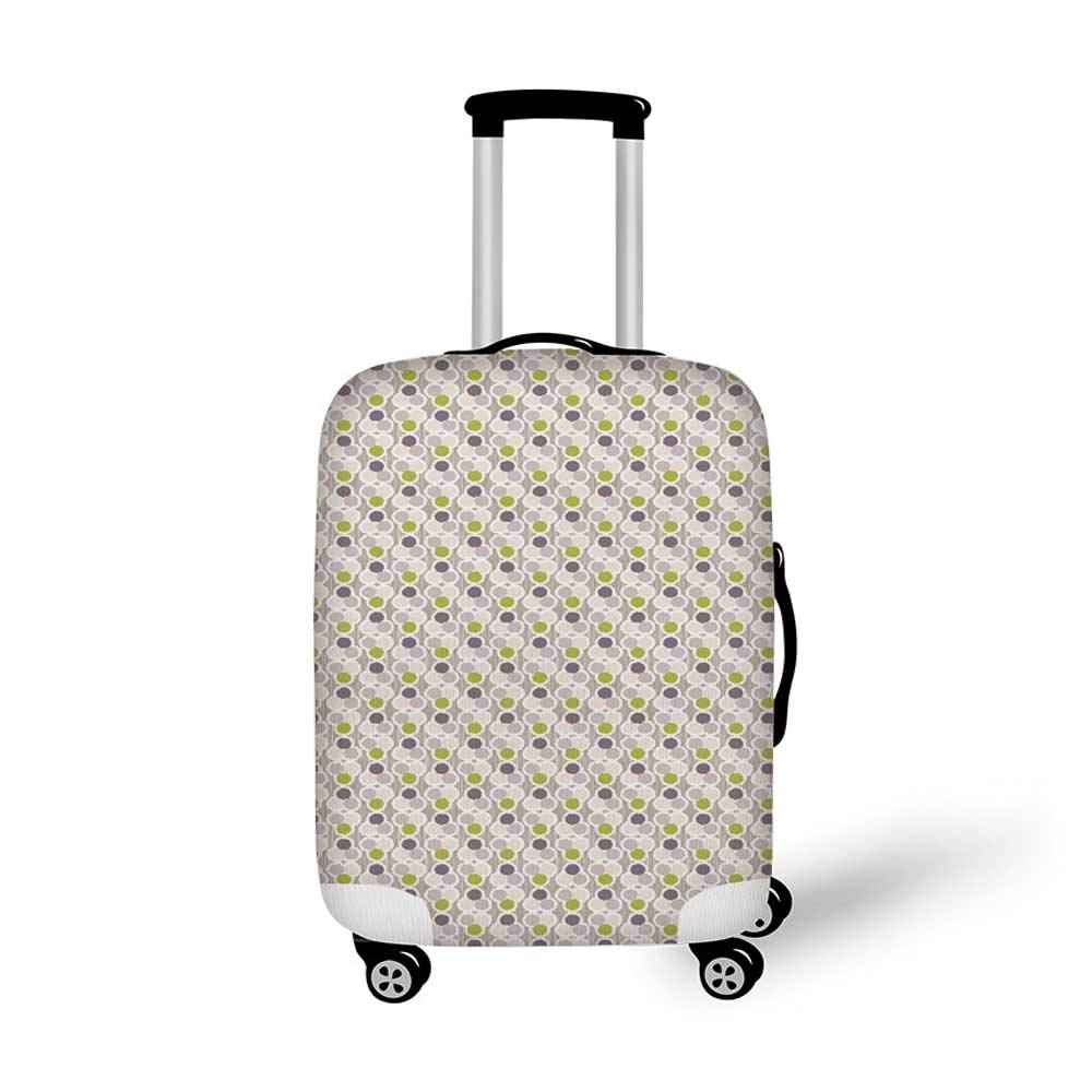 Ikat Stylish Luggage Cover,Circles with Dots Tribal Ornate Pattern Ethnic Vintage Design Traditional Asian Decorative for Luggage,M 19.6W x 28.9H