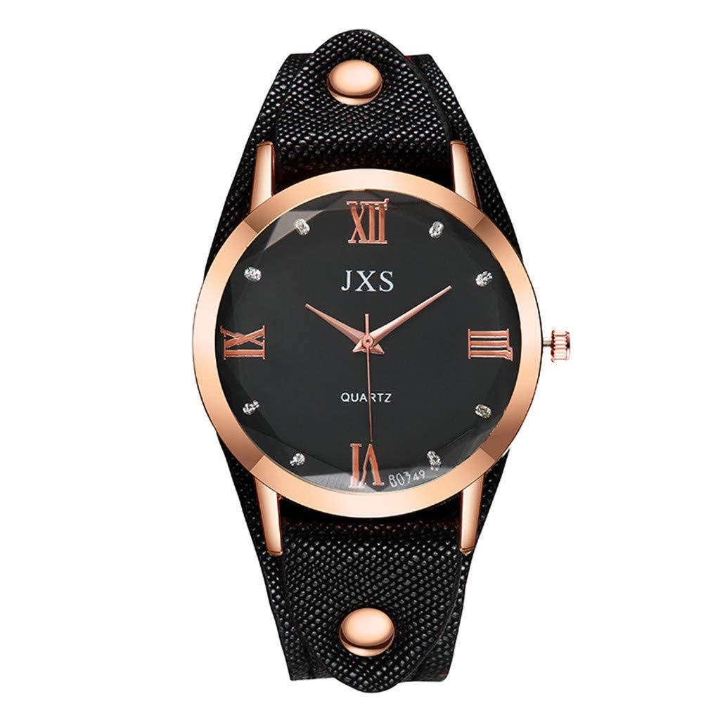 Tantisy ♣↭♣ Woman's Quartz Watch ☘ High-end Blue Glass Leather Woman Watch No Waterproof Simple Fashion Watch