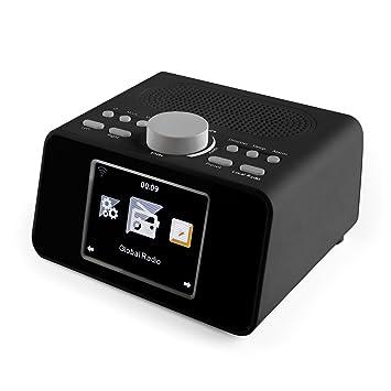 auna i-Snooze Radio de Internet - Altavoz estéreo , De diseño , Radiodespertador , WiFi , USB para MP3 , Alarma Dual , Pantalla TFT Color , Alertas ...