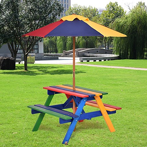Costway 4 Seat Kids Picnic Table w/Umbrella Garden Yard Folding Children Bench Outdoor by COSTWAY