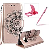 Rope Leather Case for Samsung Galaxy S7,Strap Wallet Case for Samsung Galaxy S7,Herzzer Bookstyle Classic Elegant Mandala Flower Pattern Stand Magnetic Smart Leather Case with Soft Inner for Samsung Galaxy S7 + 1 x Free Pink Cellphone Kickstand + 1 x Free Pink Stylus Pen - Rose Gold