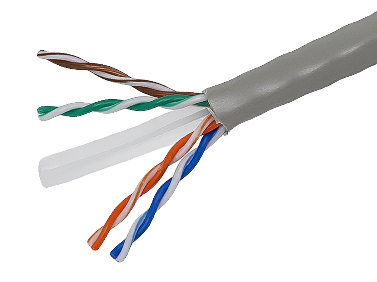 Monoprice Cat6 Ethernet Bulk Cable - Network Internet Cord - Solid, 500Mhz, UTP, CMR, Riser Rated,  Pure Bare Copper Wire, 23AWG, 1000ft, Gray