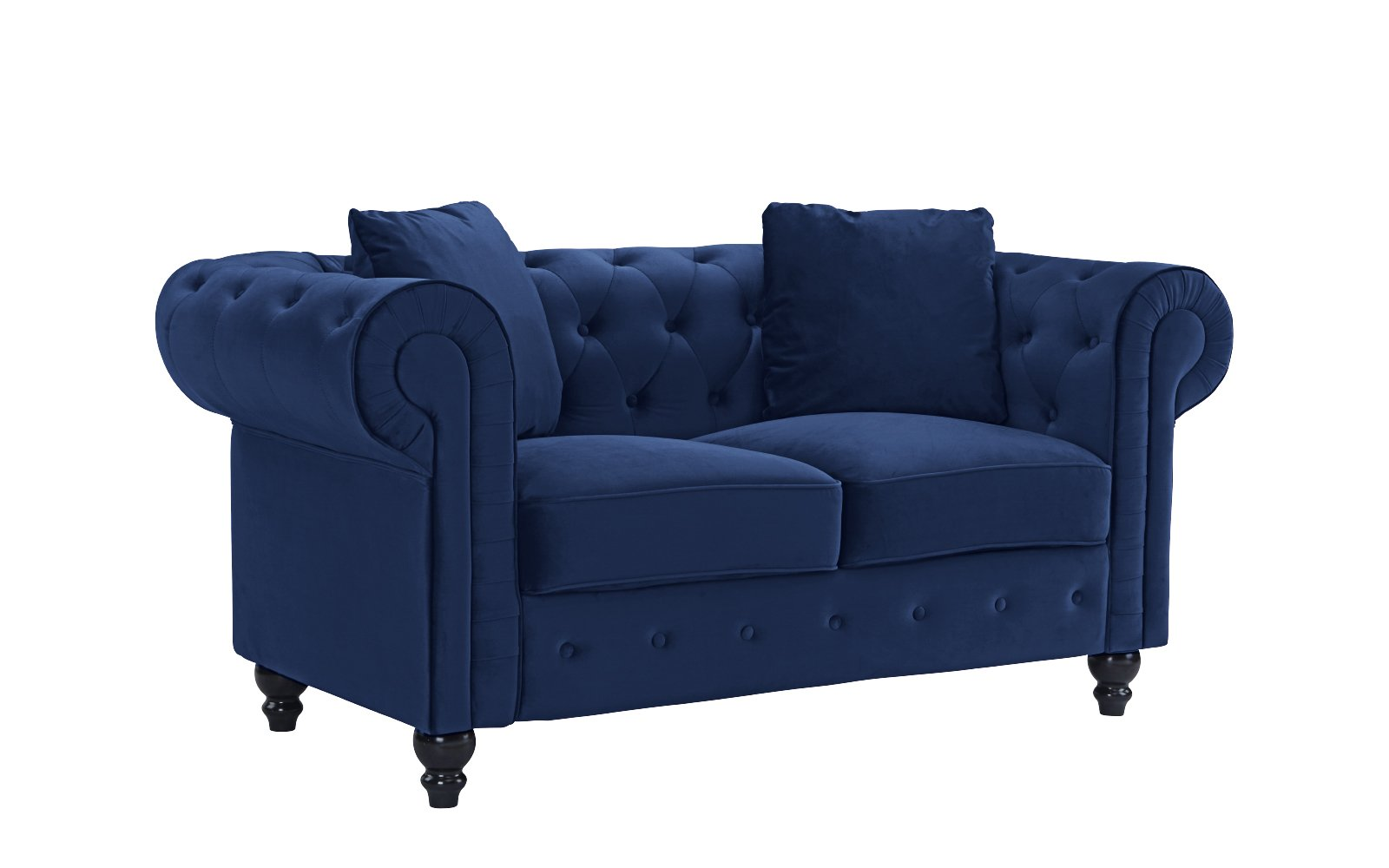 Furniture Classic Modern Scroll Arm Velvet Chesterfield Love Seat Sofa (Blue) - Ultra soft and comfortable chesterfield style love seat with tufted design for that classic and sophisticated look Premium velvet upholstery with overstuffed arms and back rests for comfort, tufted plush arm rests Removable seat cushions with velcro attached to avoid sliding, Victorian style wooden legs. - sofas-couches, living-room-furniture, living-room - 61PNVEUbhKL -