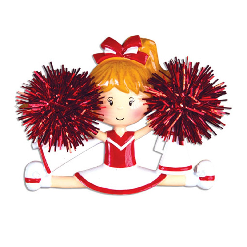 Personalized Cheerleader Christmas Ornament for Tree 2018 - Girl with Real Pompom Split - Competition Cheer Team Dancer High School Loud Proud Holiday Brunette Blonde - Free Customization (Red)