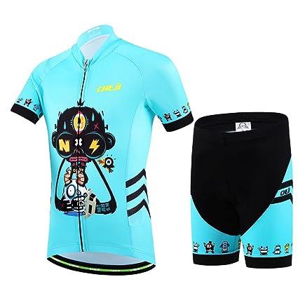 YFCH Maillot de Ciclismo Conjunto de Jersey Manga Corta + Pantalones Cortos Transpirable para Niños Niñas
