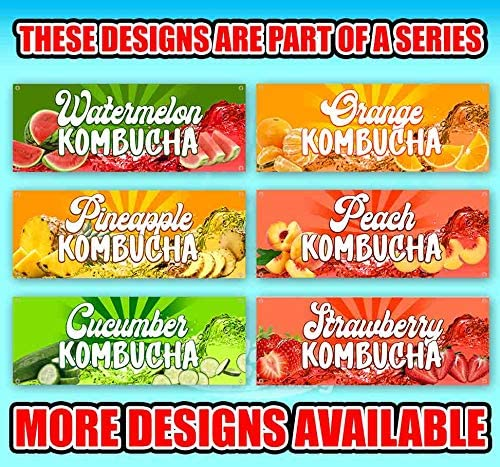New Many Sizes Available Flag, We Sell Kombucha 13 oz Heavy Duty Vinyl Banner Sign with Metal Grommets Advertising Store