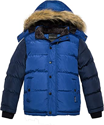 Wantdo Boys Winter Coat Thick Padded Parka with Fur Hood