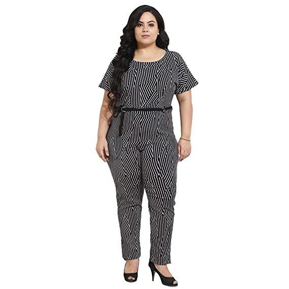 64c25e274f7f AMYDUS Polyester Lycra Abstract Printed Jumpsuit for Women Black ...