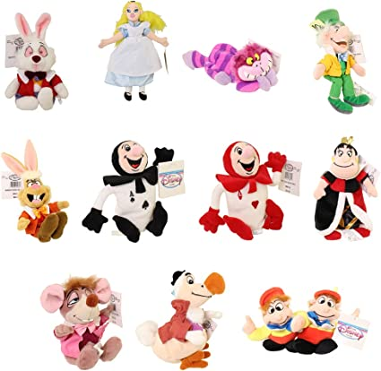Disney Store Alice in Wonderland Set 2 Plush Toys Mad Hatter Queen of Hearts