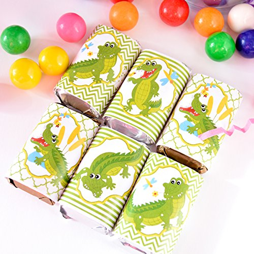 54 Crocodile Candy Wrappers, Crocodile Baby Shower Labels, Crocodile Party, Crocodile Labels -