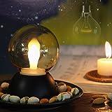 キャンドルライト バレンタインデー Shome 二つのモード 七色&電球色 USB充電のLEDインテリアライト 間接照明 ベッドサイドランプ 誕生日 結婚式 お祭り 装飾用(黒)