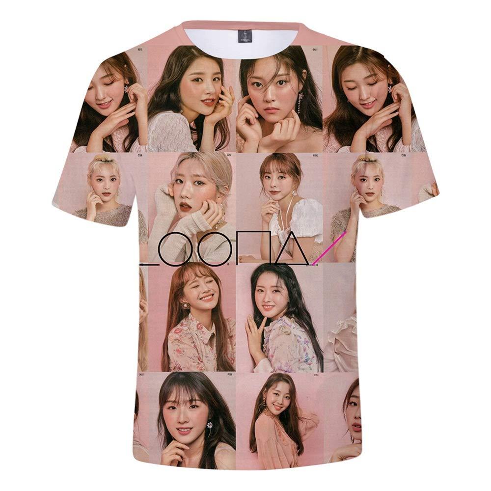 MR.YATCLS LOONA- T-Shirt A Maniche Corte con Stampa 3D T-Shirt Girocollo Estiva da Uomo E Donna T-Shirt Unisex Un Buon Regalo per I Fan