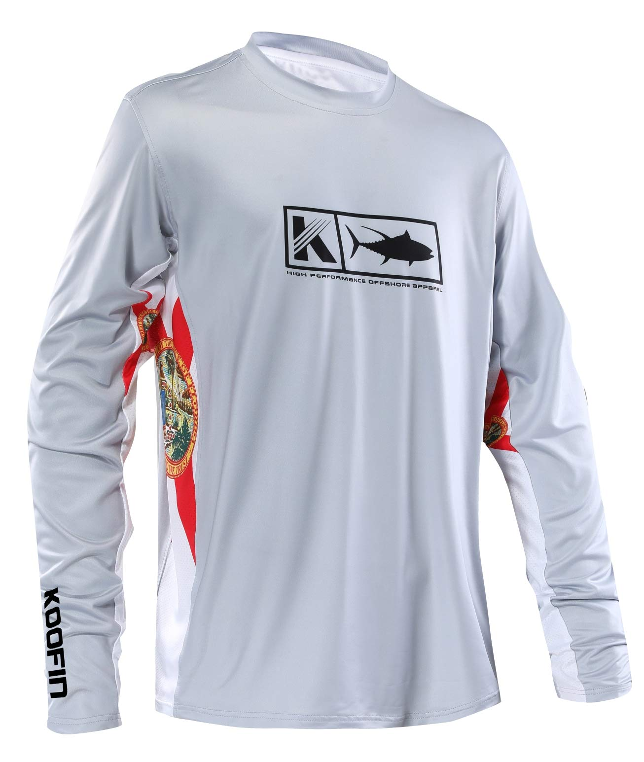 Performance Fishing Shirt Men's Vented Long Sleeve UPF 50 Sun Protection Quick Dry Cooling Side Vents Mesh Rash Guard Grey