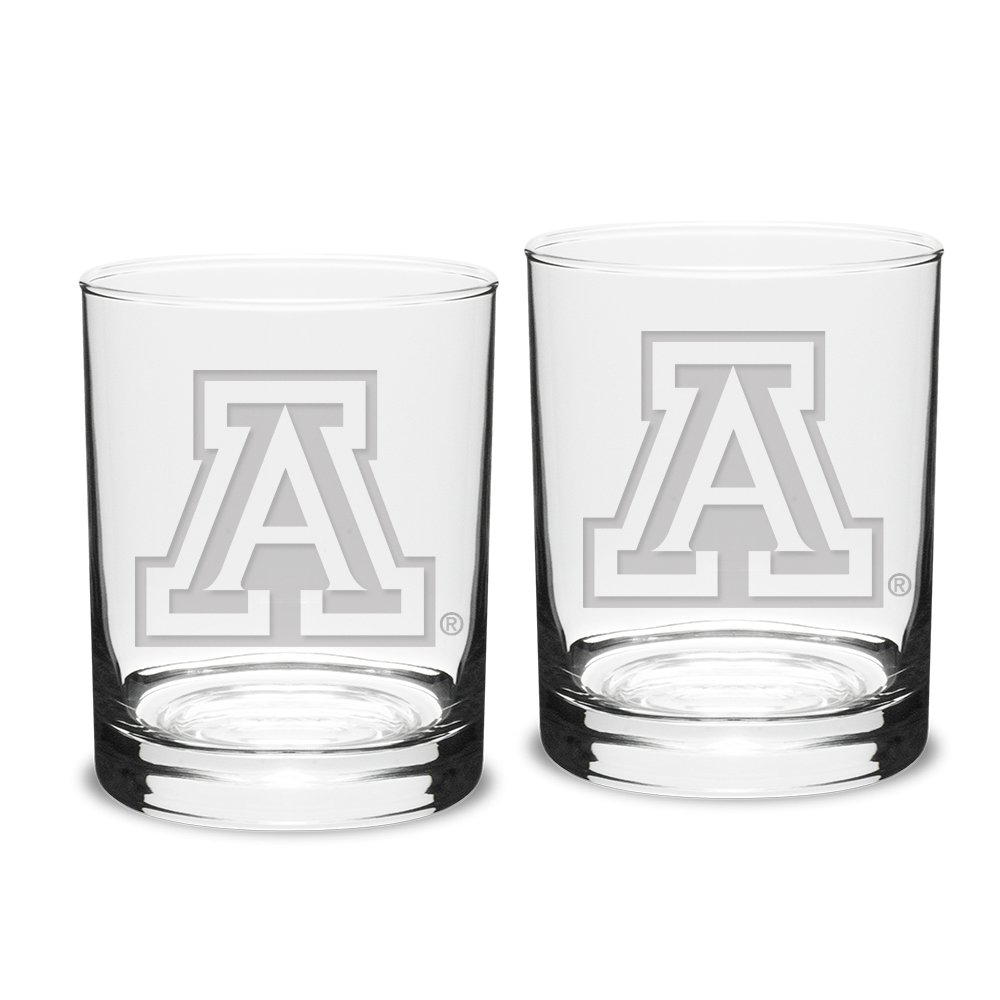 NCAA Arizona Wildcats Adult Set of 2 - 14 oz Double Old Fashion Glasses Deep Etch Engraved, One Size, Clear