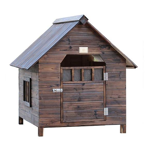 Canastilla para perros al aire libre Jaula Caseta para perros Casa de mascotas Nido Casa para perros Impermeable Impermeable Madera sólida Carbón Puerta de ...