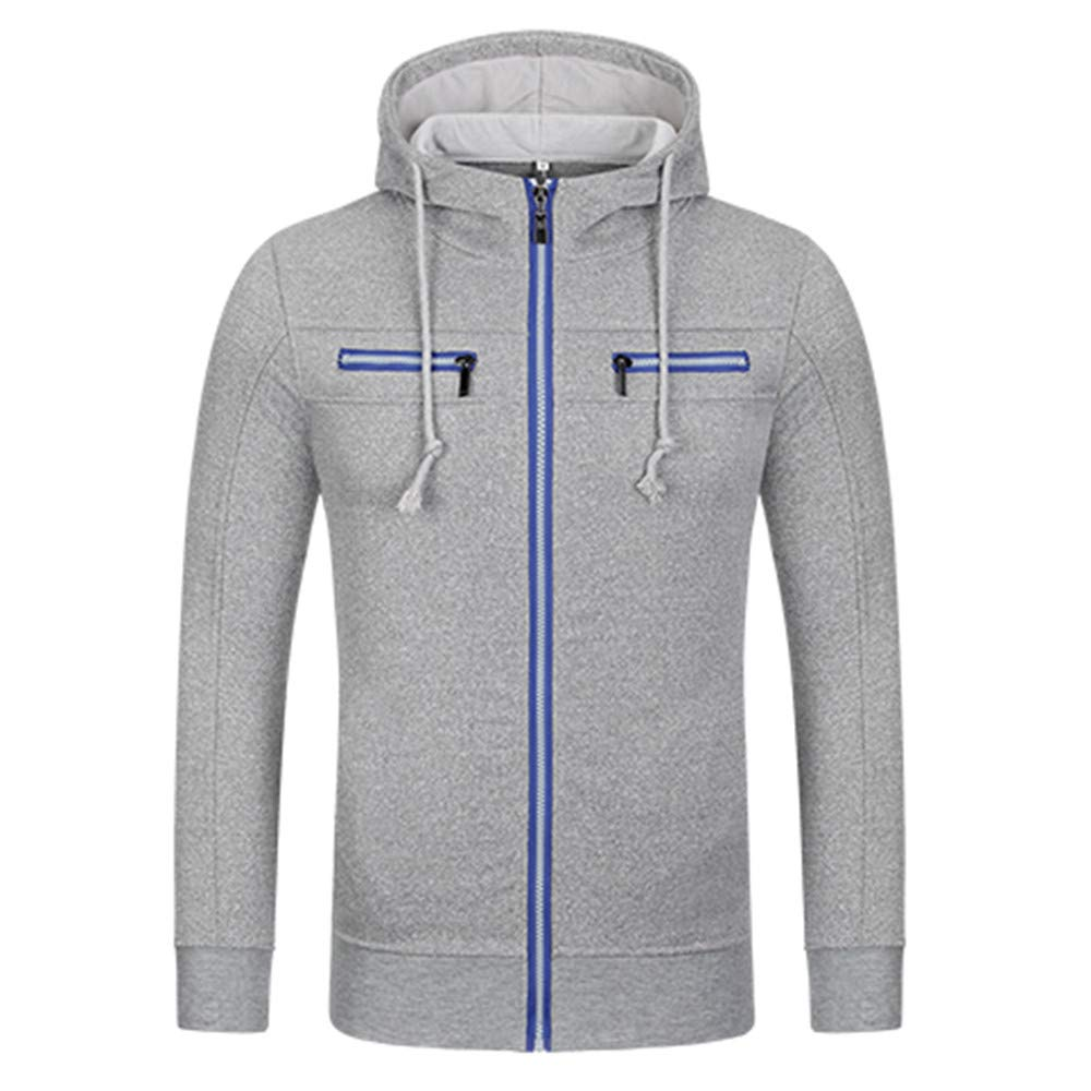 PASATO Classic Clothes! Men's Autumn Winter Casual Zipper Long Sleeve Hooded Coat Top Blouse Jacket New Hot!(Gray, XL)