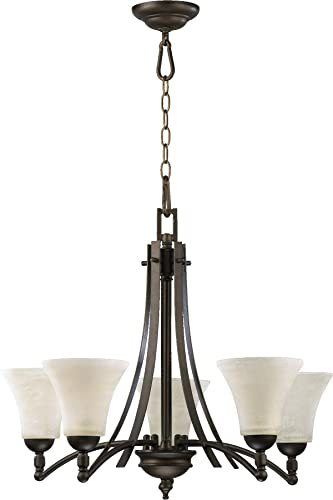 Quorum 6177-5-86 Transitional Five Light Chandelier from Aspen Collection Dark Finish, Oiled Bronze