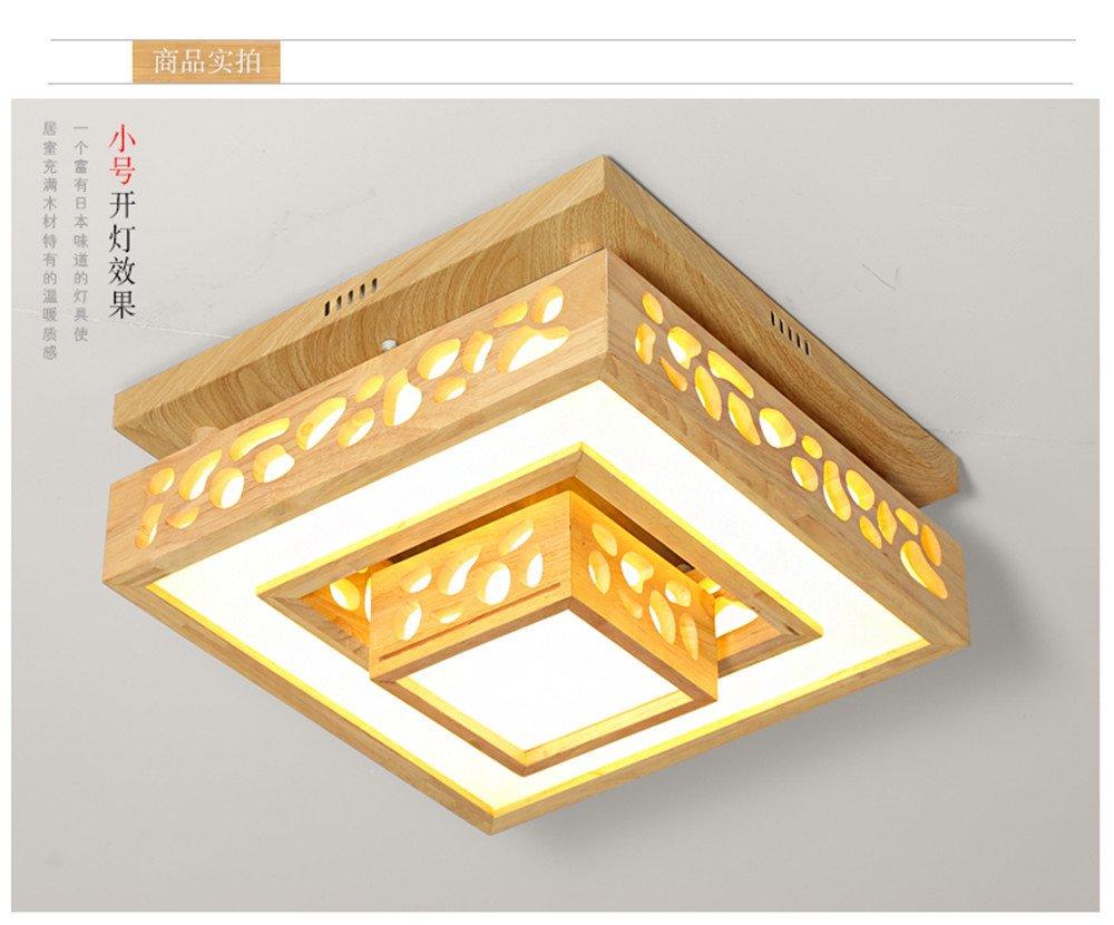 BRIGHTLLT Kreative Holz- Wohnzimmer Deckenlampe aus Holz minimalistischen Schlafzimmer LED leuchtet 3 Protokolle japanischen Farben, 500 * h 270 mm Optische