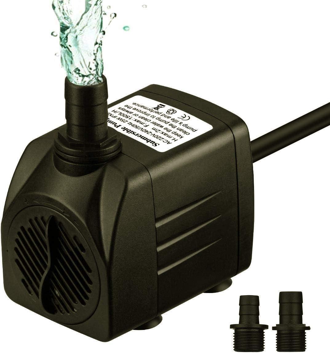 OMORC Bomba de Agua Sumergible 200L/H con Filtro y 2 Boquillas ...