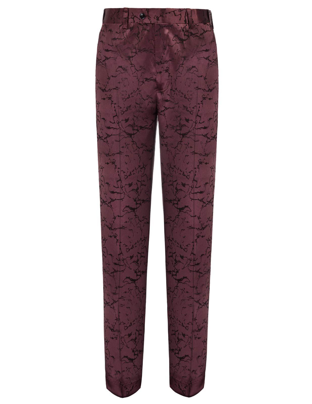Men's Floral Suit Stylish Straight Pant Adjustable Waist M Dark Wine by PAUL JONES