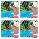 Liili Square Coasters Non-Slip Natural Rubber Desk Pads young beautiful woman in straw hat relaxing in spa pool 28797868
