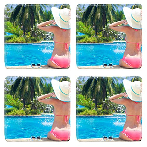 Liili Square Coasters Non-Slip Natural Rubber Desk Pads young beautiful woman in straw hat relaxing in spa pool 28797868 by Liili (Image #2)